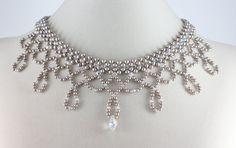 Bridal Pearl Choker Necklace Platinum Crystal Beaded Jewelry. $138.00, via Etsy.