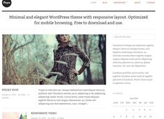 Free Blogging Mobile WordPress Template Origin. Responsive Ready, Blogger friendly for large text. Portofolio photos. Lightbox and contact form installed.