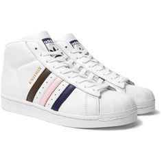 Kingsman + adidas Originals Superstar Pro Numbered Leather High-Top... ($190) ❤ liked on Polyvore featuring men's fashion, men's shoes, men's sneakers, mens high top sneakers, mens leather high top shoes, mens leather sneakers, mens leather shoes and mens leather high top sneakers