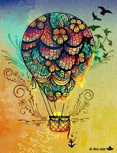 Hot air balloon tattoo idea - this obviously looks better as a painting, it it's…