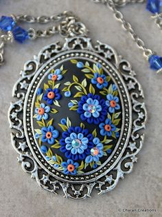Gorgeous Polymer Clay Applique Statement by charancreations - design would be nice as embroidered earrings