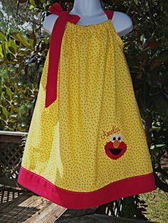 #OM2 Pillow Case Dress Elmo Birthday Dress by PoshBabyStore.com