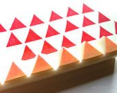 geometric rubber stamp - hand carved rubber stamp - hand carved stamp. 6  triangles