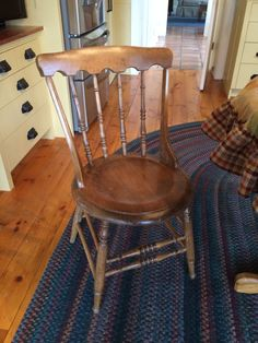 New, old gunstock chairs added to kitchen. I just had to do a light sanding, washing with Murphy's oil soap and then a coat of dark wax, light wax and lots of elbow grease! Murphys Oil Soaps, Dark Wax, Grease, Dining Chairs, Coat, Kitchen, Furniture, Home Decor, Dinner Chairs