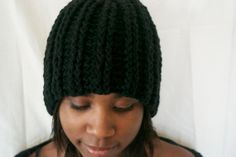 Black Ribbed Crochet Hat by BFCouture on Etsy, $30.00