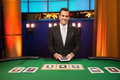 Host Bill Rancic gets ready to deal the cards in Food Network's Kitchen Casino Food Shows, Food Network Recipes, Kitchen, News, Celebrities, Cards, Cooking, Celebs, Kitchens
