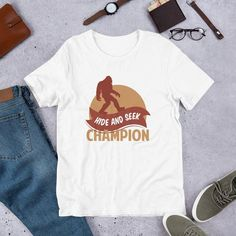 0c8e50060 Bigfoot Hide And Seek Champion shirt - Bigfoot Retro Vintage - Funny  camping - Sasquatch believer t shirt - Short-Sleeve Unisex T-Shirt
