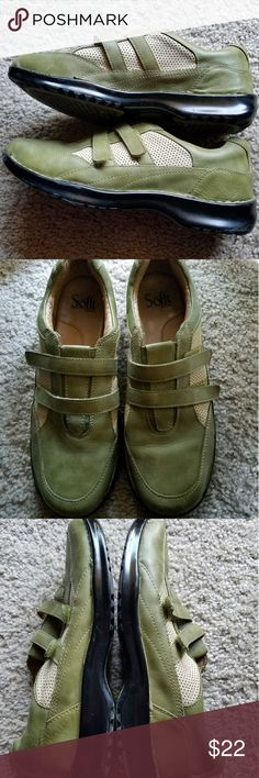 🌻🌻SOFFT Ladies green leather slip ons 🌷🌷Super comfortable ladies sofft green leather strap slip on sneakers. Two velcro straps for closure.   Size 8.5. These have been worn but are in great shape with tons of if life left. Sofft Shoes Sneakers