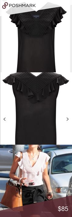 HP French Connection Pretty Penelope Ruffled Top Beautiful and classically chic! Black sheer fabric with ruffle and pleating detain. Simply gorgeous! Like new! The Chic Shed; A Current and Classic Fashion Curation.  10% OFF BUNDLES I ❤️ THE OFFER BUTTON ❌NO PP, TRADES, HOLDS❌  15% OFF RETURN BUYER BUNDLES French Connection Tops