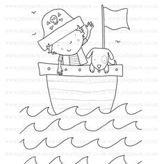 210 pirate and dog on boat digital stamp