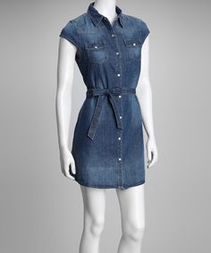Cute with my cowgirl boots - Blue Denim Front-Tie Button-Up Dress by Primary Colors: @zulily today!