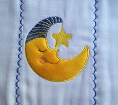 Burpcloth with sleeping moon applique with a star by PJSEMBROIDERY