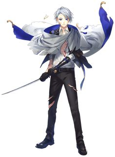 山姥切長義 Anime Chibi, Anime Art, Touken Ranbu Characters, Cool Anime Guys, Anime Sketch, Boy Art, Blue Butterfly, Guys And Girls, Character Design