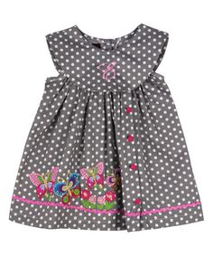 Look what I found on #zulily! Gray & White Polka Dot Initial Flower Dress - Infant, Toddler & Girls #zulilyfinds