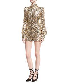 Sequined Mock-Neck Mini Dress, Gold