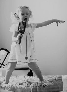 little girl toddler singing with brush as a microphone - Google Search