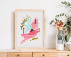 """""""Upstream"""". This beautiful Giclée print is a celebration of inner freedom. The original painting was created using vibrant, optimistic colours, and was later reproduced as a limited edition print."""