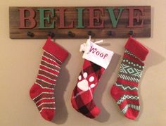 DIY stocking holder for those without a mantle. Simple and would fit lots of stockings Christmas Decor Diy Cheap, Christmas Wood, Christmas Signs, Holiday Crafts, Christmas Holidays, Christmas Decorations, Christmas Ideas, Christmas Planning, Homemade Christmas
