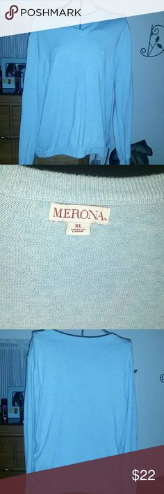 Large merona v neck sweater Cotton, nylon and wool baby blue v neck sweater in brand new condition.  Cuffs,collar and bottom of sweater have lines for added ambience. Will ship right away with a free gift (s) Merona Tops