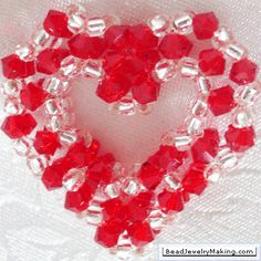 Beaded Crystal Heart- Bead Jewelry Making - Valentine Special click on learn how.. under pic