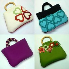 Very nice to try. Unique Purses, Cute Purses, Purses And Bags, Felt Purse, Craft Bags, Felt Patterns, Clothes Crafts, Fabric Bags, Kids Bags