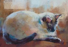SIAMESE CAT Painting Original Cat ART by KarenMargulisFineArt, $95.00