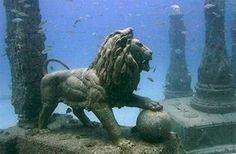 Cleopatra's Royal Quarters found in Alexandria, Eqypt by French underwater acheologist Frank Goddio. Lost for 1,600 years, historians believe the site was submerged by earthquakes and tidal waves, yet, astonishingly, artifacts remained largely intact.