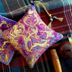 Rich warm magenta Woodland embroidered lavender bag, with running hare in gold stitches - The British Craft House Gold Embroidery, Embroidery Designs, Magenta, Purple, Craft House, Lavender Bags, Clear Bags, Metallic Thread, Warm Colors