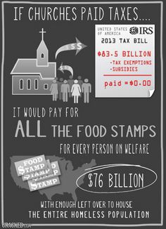 The separation of church and state demands that churches get taxed, the same as everyone else.