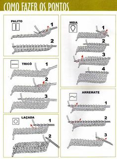 Croche tunisiano - tuto chart. Mais