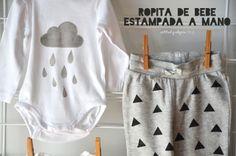 actitud y alegría ♥: DIY: Ropa de bebé estampada a mano