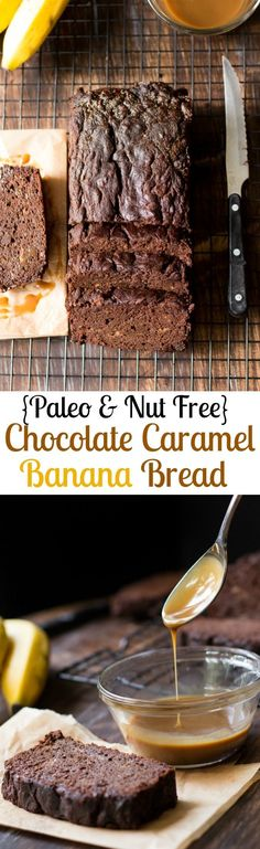 Chocolate Caramel Paleo Banana Bread (Nut Free) is a seriously delicious loaf of rich, moist, chocolatey Paleo banana bread with easy dairy free caramel baked in for extra richness and sweetness. Makes a great Paleo dessert, snack, or sweet breakfast! Gluten free, grain free, dairy free, soy free, Paleo.