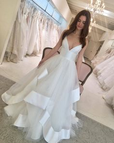 Tulle wedding gown - White V Neck Spaghetti Straps Multilayered Long Prom Dress, Wedding Dress from Girlsprom Tulle Wedding Gown, Tulle Prom Dress, Princess Wedding Dresses, Dream Wedding Dresses, Bridal Dresses, Prom Dresses, Lace Wedding, Spring Dresses, Mermaid Wedding