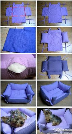 Find Pillow Pet Beds and more for your furbaby. We've included a doggy sweater and a denim jeans pet lap plus the best diy pillow pet beds.The cutest DIY pet bed ideas that are sure to make your favorite fur babies happy. See the best designs for 201 Animal Projects, Animal Crafts, Diy Pour Chien, Diy Dog Bed, Homemade Dog Bed, Pet Beds Diy, Homemade Cat Toys, Diy Pillows, Pillow Beds