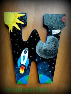 Outer Space Adventure theme -Large Letter W Hand painted rocket ship and planets. with glow-in-the-dark details by deliberatediva