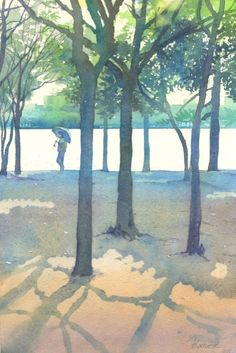 Place in the Sun ~ Kanta Harusaki Kids Watercolor, Watercolor Landscape, Watercolor Flowers, Watercolor Paintings, Tree Paintings, Watercolours, Thing 1, Art Pictures, Art Pics