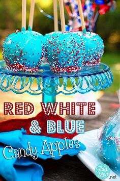 Red White  Blue Candy Apples!  GREAT for Memorial Day or 4th of July celebrations!  tutorial at TidyMom.net