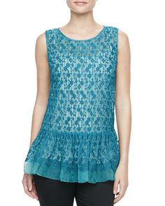 Polka-Dot+Embroidered+Peplum+Tunic,+Teal+by+RED+Valentino+at+Bergdorf+Goodman.