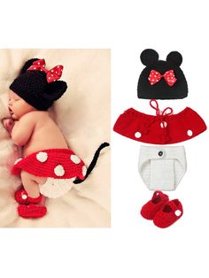 Baby Clothes Minnie Hat Skirt Shorts Toddler Shoes Photography Props Costume Winter Outfit