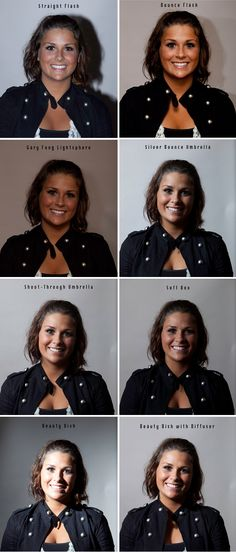 Examples of different light modifiers (picture one is a good example of why you should never use direct flash).