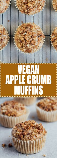 These vegan apple crumb muffins are the perfect recipe for all your apples! They're healthy and topped with a delicious walnut crumb!