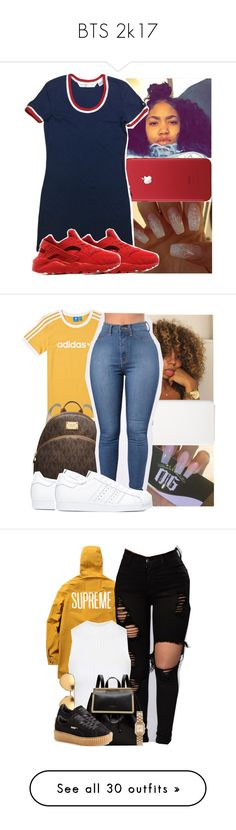 """BTS 2k17"" by kenydie-kimble ❤ liked on Polyvore featuring NIKE, ETUÍ, adidas, Michael Kors, Topshop, Ted Baker, Linda Farrow, Puma, Marc by Marc Jacobs and Vans"