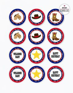 Cowboy cupcake topper for boy birthday party or baby shower in blue and red colors. INSTANT DOWNLOAD. Western theme tags: sherid star, cowboy horse,