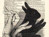 Originaldruck - Häschen-Schattenwanddekoration Kunst Originaldruck - ein Designerstück von Dictionary-vintage-book-page bei DaWanda