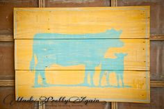 Rustic Ranch Decor - Turquoise Blue Cow/Calf Pair on Yellow Sign