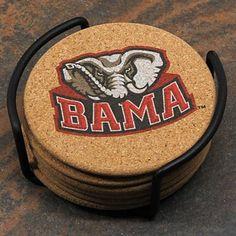 Alabama Crimson Tide Set of 6 Cork Coasters with Metal Holder - Man Cave