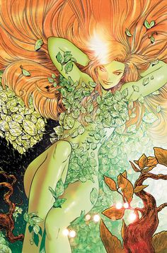 Poison Ivy - A botanical biochemist, Pamela Isley is a fervent eco-terrorist out to save the world's plant life by any means necessary. She often has found herself at odds against Batman, though they have fought on the same side on occasion. Poison Ivy Batman, Poison Ivy Comic, Dc Poison Ivy, Poison Ivy Dc Comics, Batgirl, Catwoman, Dc Comics Art, Comics Girls, Marvel Comics