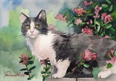 Print of the Original Watercolor Painting Tuxedo Cat Gray and White Cat Kitty Kitten Fuzzy Flowers