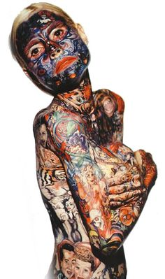 Julia Gnuse, also known as the illustrated lady, developed a condition called porphyria in her mid 30′s causing her skin to blister regularly and ultimately scar. In order to cover this up, she started getting tattoos applied over the affected areas. After about 13 years, she has covered over 95% of her body, and holds the Guinness Record for being the most tattooed woman in the world. NB: the tattoos are purely aesthetic and have not in any way helped with the blistering.