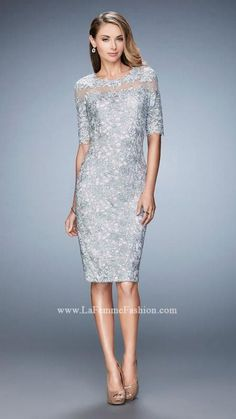 La Femme 22989 3/4 Sleeve Illusion Neck Lace Dress
